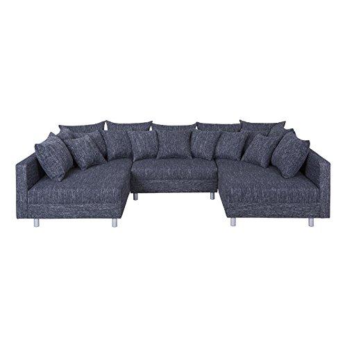 XXL Wohnlandschaft Ecksofa Eckcouch Couch RUTH mit Hocker und Kissen in schwarz