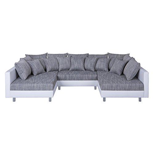 CARO-Möbel XXL Wohnlandschaft Ecksofa Eckcouch Couch Ruth mit Hocker und Kissen in Weiß/Grau