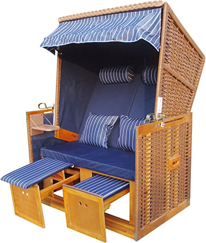 zweisitzer strandkorb beiges pe rattan strandk rbe modell nordsee blau royal inkl pvc. Black Bedroom Furniture Sets. Home Design Ideas