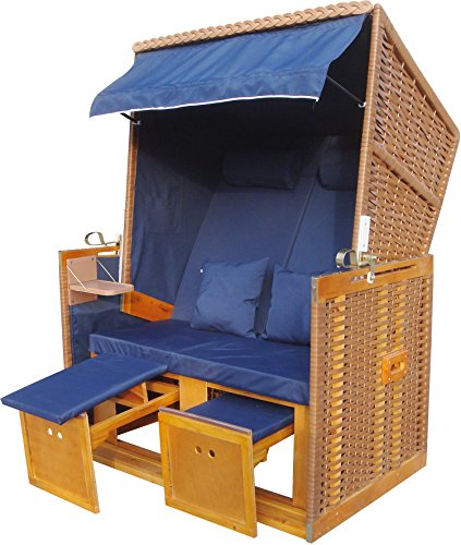 zweisitzer strandkorb beiges pe rattan strandk rbe modell nordsee blau uni inkl pvc. Black Bedroom Furniture Sets. Home Design Ideas