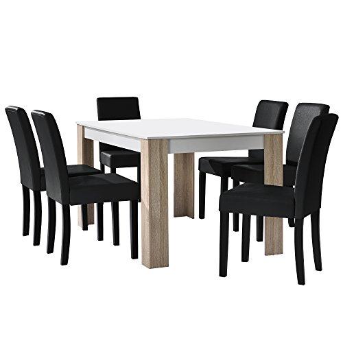 [en.casa] Esstisch Eiche weiß mit 6 Stühlen schwarz Kunstleder gepolstert 140x90 Essgruppe Esszimmer Set