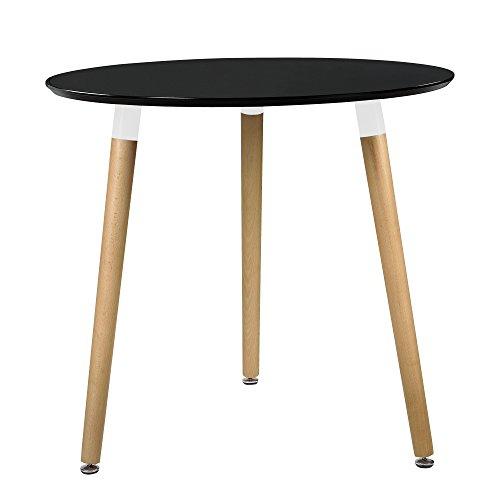 [en.casa] Esstisch Rund Schwarz [H:75cmxØ80cm] Holz Tisch Retro Küchentisch