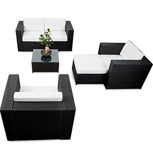 erweiterbares 15tlg lounge sofa sitzgruppe polyrattan schwarz gartenm bel sitzgruppe. Black Bedroom Furniture Sets. Home Design Ideas