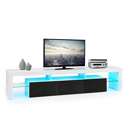 oneConcept Orlando • Lowboard • TV Board • Fernsehschrank • Sideboard • LED • Material: MDF • Schubfach-Volumen: je 13 Liter • LED Farbwechselmodi • Fernbedienung • schwarz-weiß