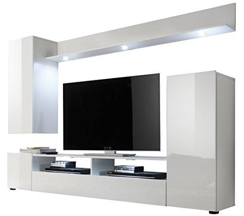 Trendteam Wohnzimmer Anbauwand Wohnwand DOS, 208 x 165 x 33 cm in Weiß Hochglanz Ohne Beleuchtung