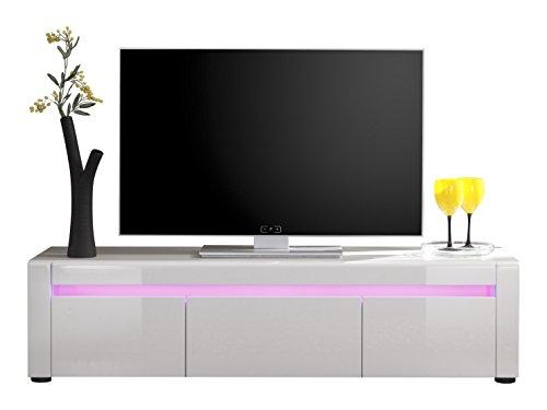 Trendteam LT85301 TV Möbel Lowboard weiss Hochglanz, BxHxT 136x35x40 cm