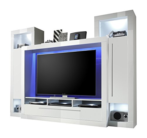 trendteam mx92101 wohnwand tv m bel weiss hochglanz bxhxt 239x172x40 cm m bel24. Black Bedroom Furniture Sets. Home Design Ideas