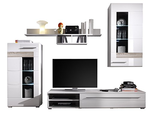trendteam mz94741 wohnzimmerschrank wohnwand anbauwand weiss hochglanz absetzungen eiche sgerau. Black Bedroom Furniture Sets. Home Design Ideas