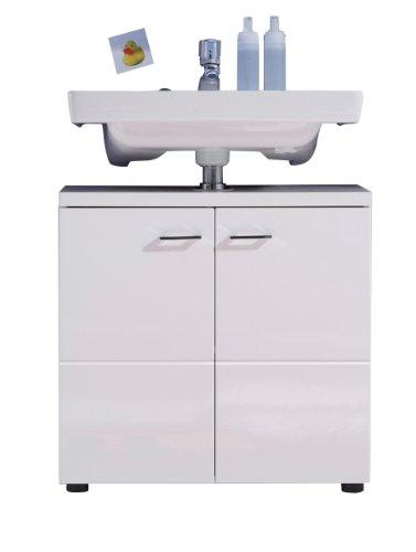 Trendteam 132030101 Badezimmer Waschbecken Unterschrank Schrank Nightlife, 65 x 63 x 35 cm in Weiß Hochglanz und pflegeleichten Hochglanzfronten
