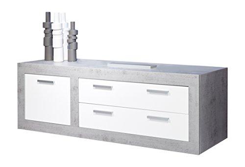 Trendteam 1516-316-35 TV Möbel Lowboard Weiss Hochglanz, Absetzungen Beton Industry, BxHxT 180x69x50 cm
