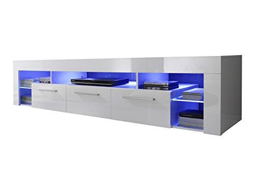 Trendteam Wohnzimmer Lowboard Fernsehschrank Fernsehtisch Score Wohnen, 200 x 44 x 44 cm in Weiß Hochglanz Ohne Beleuchtung