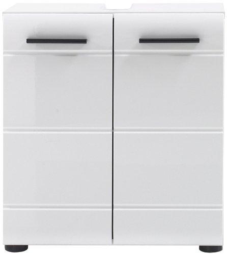 Trendteam Badezimmer Waschbeckenunterschrank Unterschrank Skin Gloss, 60 x 56 x 31 cm in Korpus Weiß, Front Weiß Glanz mit Siphonausschnitt