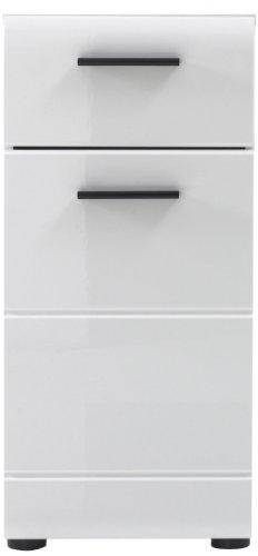 Trendteam Badezimmer Kommode Schrank Skin Gloss, 30 x 79 x 31 cm in Korpus Weiß, Front Weiß Glanz mit viel Stauraum