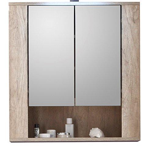 Trendteam 1408-503-26 Badezimmer Spiegelschrank Spiegel Star, 70 x 75 x 22 cm in Eiche Monument Dekor, Absetzung Touchwood Dunkelbraun ohne Beleuchtung