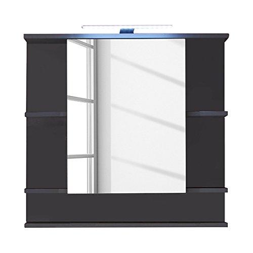 Trendteam 1330-403-21 Tetis Badezimmer Spiegelschrank, 72 x 76 x 20 cm, in Graphit mit fünf Ablagefächern, Dunkelgrau, Front Hochglanz Weiß