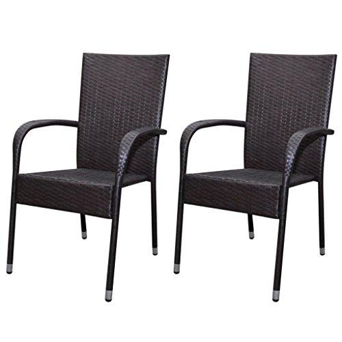 vidaXL 2x Gartenstuhl Poly Rattan Gartenmöbel Esszimmerstühle Sessel Hochlehner