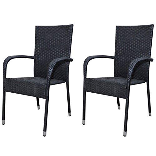 vidaxl 2x gartenstuhl poly rattan gartenm bel stapelstuhl stuhlset hochlehner m bel24. Black Bedroom Furniture Sets. Home Design Ideas