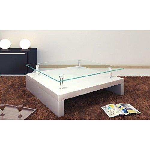 vidaXL Hochglanz Couchtisch Beistelltisch weiß Wohnzimmertisch Glastisch Glas