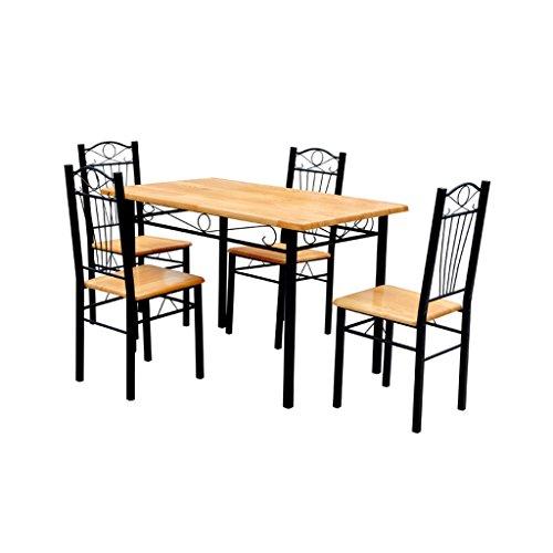 vidaXL Esszimmer Essgruppe Esstisch mit 4 Stühlen Esszimmergarnitur Tisch Gruppe