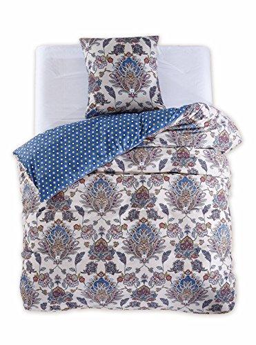 DecoKing 97694 155x220 cm Bettwäsche mit 1 Kissenbezug 80x80 Renforcé Bettwäscheset Bettbezüge 100% Baumwolle Bettwäschegarnituren Reißverschluss Diamond Collection King Edward beige blau dunkelblau rot gelb