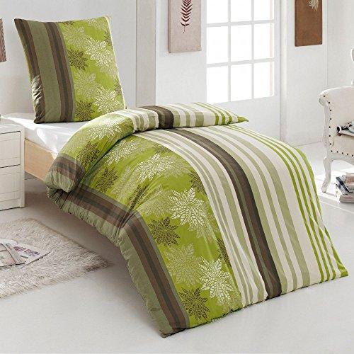 2 tlg 100 % Baumwolle Renforce Bettwäsche 135x200 80x80 Kissenbezug grün braun