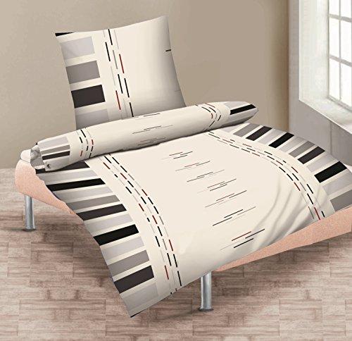 4-Teilige hochwertige Renforcé-Bettwäsche Set Karl weiss/grau 2x 135x200 Bettbezug + 2x 80x80 Kissenbezug , 100% Baumwolle