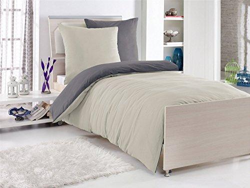 4-Teilige hochwertige Renforcé-Bettwäsche UNI-WENDE in anthrazit/stone 2x 135x200 Bettbezug + 2x 80x80 Kissenbezug , 100% Baumwolle , Rot
