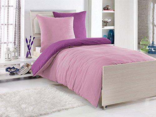 4 teilige exklusiv baumwolle renforc bettw sche 2x 135x200cm 2x 80x80cm uni wende. Black Bedroom Furniture Sets. Home Design Ideas
