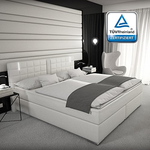 boxspringbett 180x200 160x200 oder 140x200 wei grau mit led kopflicht t v gepr ft matratze. Black Bedroom Furniture Sets. Home Design Ideas