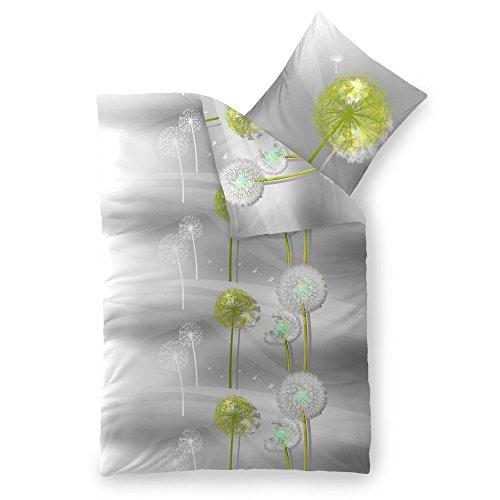Bettwäsche 2tlg 135x200 Baumwolle Set Kopfkissen Bettbezug Reißverschluss atmungsaktiv Bett Garnitur 80x80 Kissen Bezug CelinaTex 5000384 Fashion Gisele grau weiß grün Pusteblume