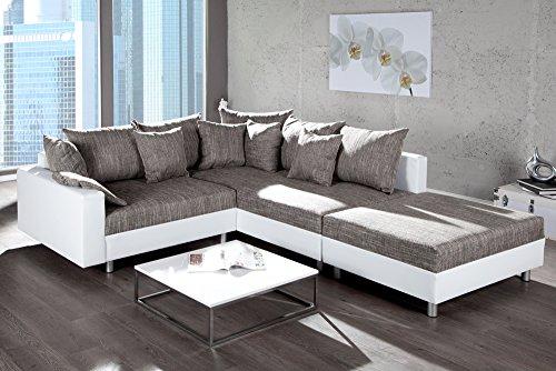 design ecksofa mit hocker loft weiss strukturstoff grau federkern sofa ot rechts m bel24. Black Bedroom Furniture Sets. Home Design Ideas