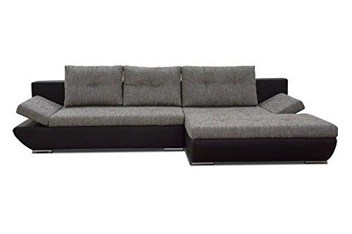 ecksofa levio mit ottomane rechts in grau schwarz mit bettfunktion und staufunktion. Black Bedroom Furniture Sets. Home Design Ideas
