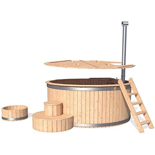 ISIDOR Badezuber Badefass Badetonne Badebottich Pool Outdoor Hot Tub Whirlpool Komplettset mit Deckel und Zubehör optional (Ø190cm mit Leiter und Fußbad)