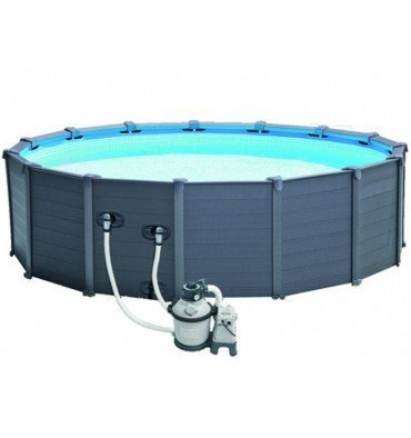 Pool Rohrmotor rund Intex graphit 4,78 x 1,24 m
