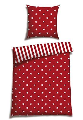 Schiesser Renforcé Bettwäsche Sterne rot / 135 x 200 cm + 80 x 80 cm / 2-teilig / 100% Baumwolle