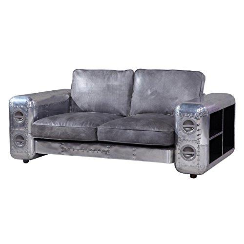 Sofa Ledersofa Nibe, 2-Sitzer Zweisitzer, Leder Echtleder Weißblech Silber, Breite 169 cm, Tiefe 94 cm, Höhe 61 cm
