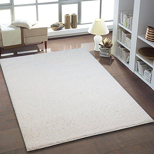 shaggy teppich flauschiger hochflor wohn teppich einfarbig uni in wei f r wohnzimmer. Black Bedroom Furniture Sets. Home Design Ideas