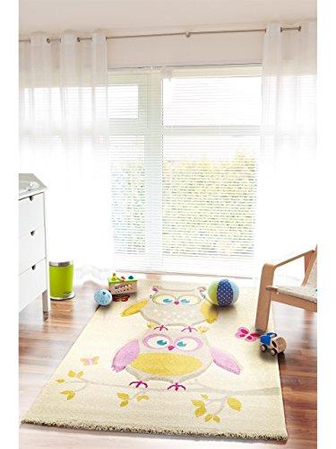 benuta teppiche kinderteppich eule und schmetterlinge taupe 160x230 cm schadstofffrei 100. Black Bedroom Furniture Sets. Home Design Ideas