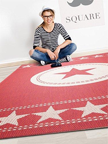benuta in outdoor teppich essenza star rot 160x230 cm pflegeleichter teppich geeignet f r. Black Bedroom Furniture Sets. Home Design Ideas