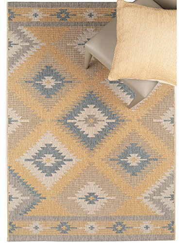 benuta teppiche moderner designer in outdoor teppich star kilim gelb 160x230 cm gut siegel. Black Bedroom Furniture Sets. Home Design Ideas