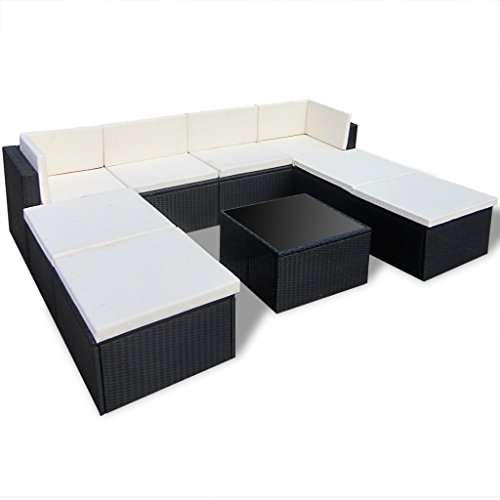 vidaxl gartenmbel set aus pe rattan schwarz 0 m bel24. Black Bedroom Furniture Sets. Home Design Ideas