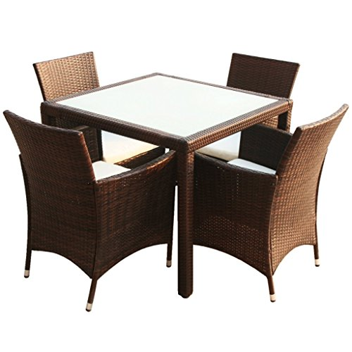 poly rattan gartenm bel essgruppe sitzgruppe gartenset braun 1 4 m bel24. Black Bedroom Furniture Sets. Home Design Ideas