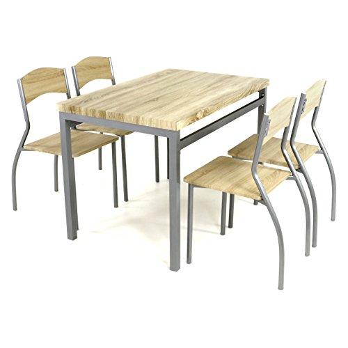 5tlg Küchenset Esszimmerset Sitzgruppe Essgruppe, 1 Esszimmertisch 4 geschwungene Stühle geschmackvolles Design Eiche Dekor MDF Platte