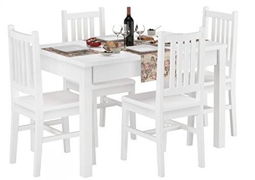 90.70-53 W Set Schöne Essgruppe mit Tisch und 4 Stühlen Kiefer Massivholz Esstisch