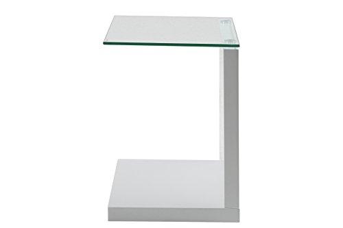 AC Design Furniture 49008 Beistelltisch Michel, Klarglas, ca. 40 x 50 x 35 cm, weiß hochglanz