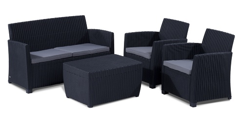 allibert 212406 lounge set corona mit kissenbox tisch 2 sessel 1 sofa 1 tisch rattanoptik. Black Bedroom Furniture Sets. Home Design Ideas