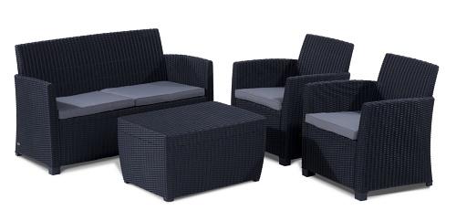 Allibert 212406 Lounge Set Corona mit Kissenbox-Tisch (2 Sessel, 1 Sofa, 1 Tisch), Rattanoptik, Kunststoff, graphit