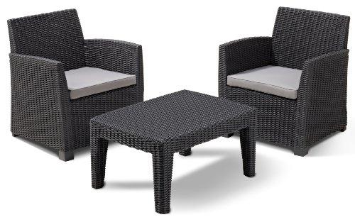 Allibert 212429 Lounge Set Corona Balcony  (2 Sessel, 1 Tisch), Rattanoptik, Kunststoff, graphit