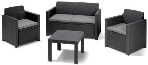 Allibert Lounge Set Rattan, Alabama, 4-teiliges, Rattanoptik set, Balkonmöbel, grau