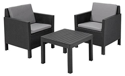 allibert lounge chicago 3 teilige set gartenm bel grau m bel24. Black Bedroom Furniture Sets. Home Design Ideas